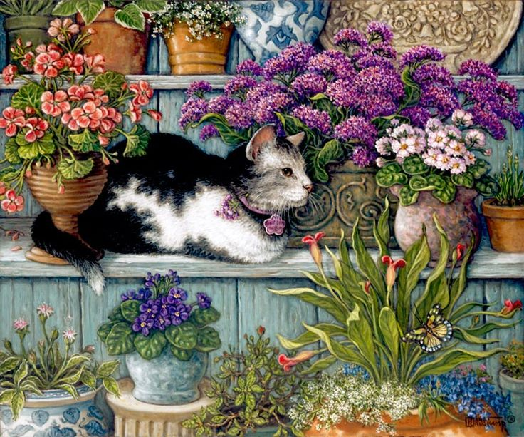 Pansy sleeping in the Sun, a painting by Janet Kruskamp of a fluffy brown cat sleeping among the potted flowers on top of the potted pansies, part of the Cat Paintings Gallery of Original Oils and  original paintings, by Janet Kruskamp.