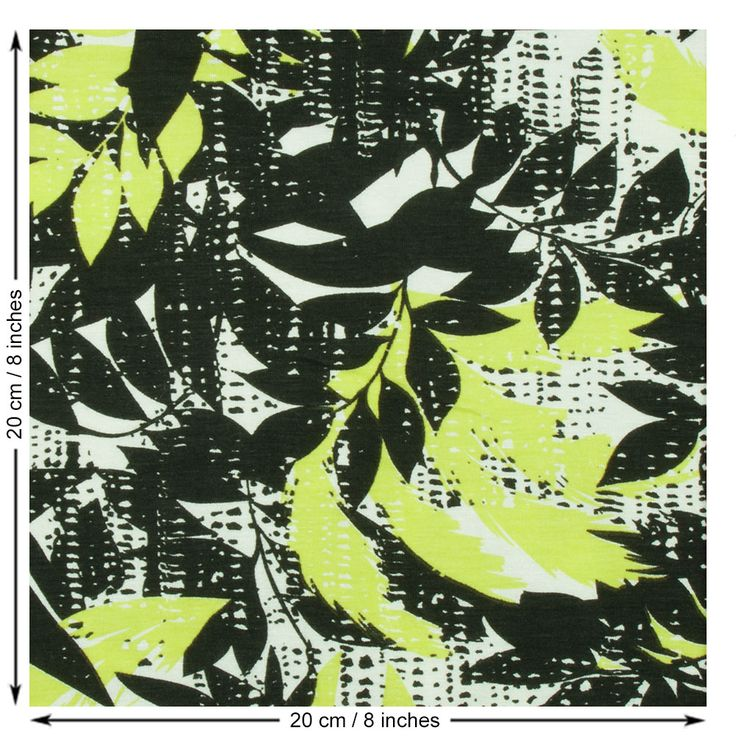Leaf Print Jersey Fabric in White, Black and Lime