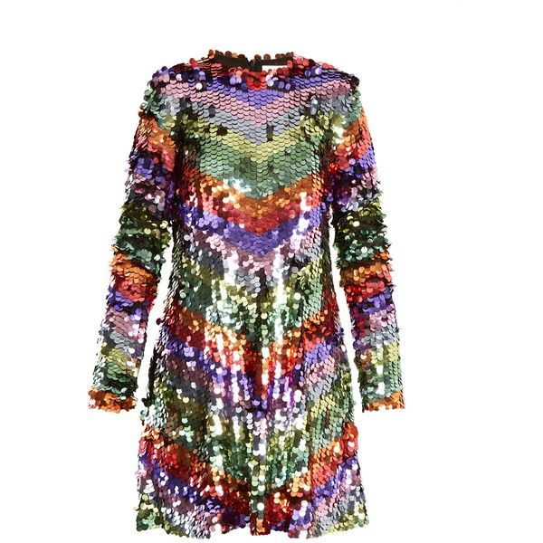 Sara Battaglia Chevron-striped sequin-embellished mini dress ($1,084) ❤ liked on Polyvore featuring dresses, multi, embroidered cocktail dress, embroidered mini dress, short sequin dress, embroidery dresses and sequin cocktail dresses