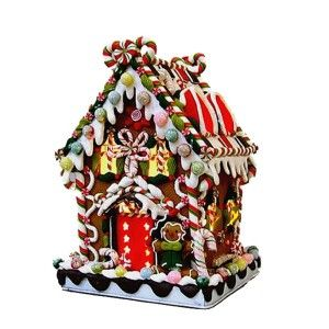 Kurt Adler Claydough and Metal Candy House Lighted Decorations