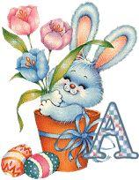 Alfabeto para Pascua de conejo en maceta.