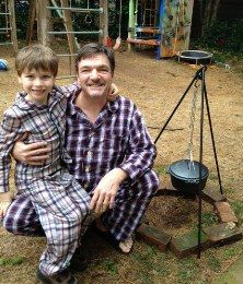 Guest VisionAware.org blogger Kevin Dunn, who lost his vision due to retinal detachment and optic nerve damage, talks about being a father. (Image: Kevin and his son, Walker, both wearing plaid pajamas)