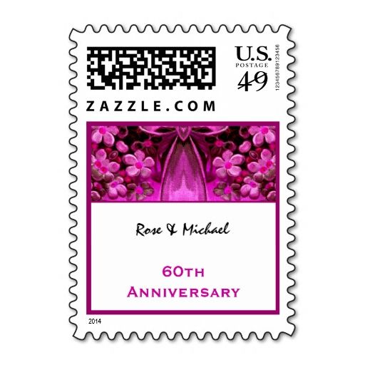 60th Anniversary Custom Names Pink Flowers Bow V1 Postage It Is