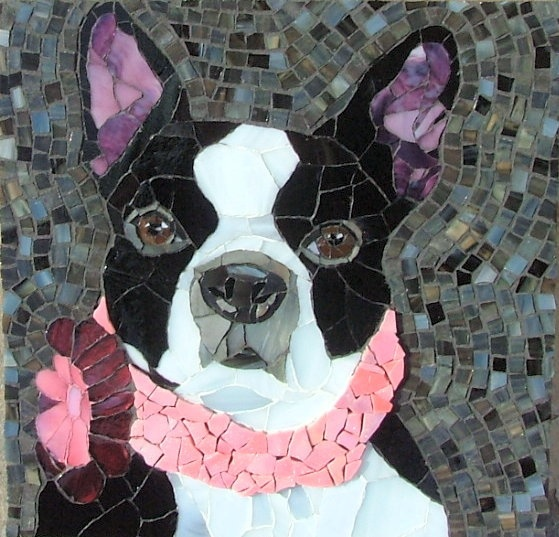 Ruby the Boston Terrier by siriusmosaics: Beautiful Mosaics, Awesome Mosaics, Glasses Mosaics, Terriers Mosaics, Boston Terriers, Mosaics Glasses