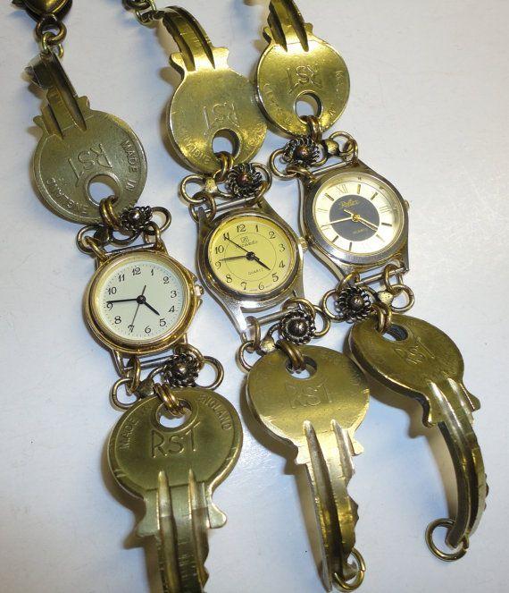 Handmade Recycled Watch Bracelet With Vintage Brass Keys, Steampunk, Eco Friendly Jewellery via Etsy