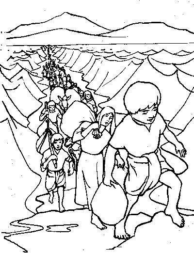 moses and joshua coloring pages - israelites cross red sea coloring pages coloring pages