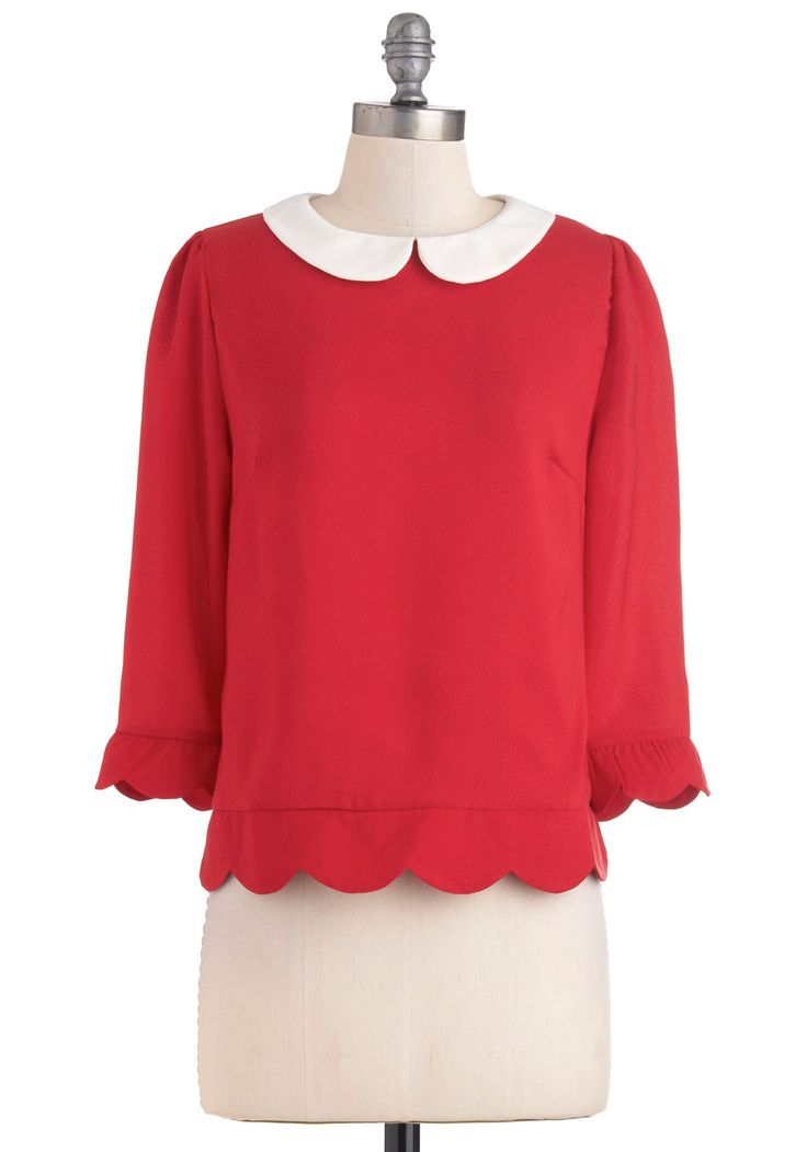 Dream Home Top - Red, Tan / Cream, Peter Pan Collar, Scallops, 3/4 Sleeve, Mid-length, Work, Vintage Inspired, Collared, Party, Holiday Party