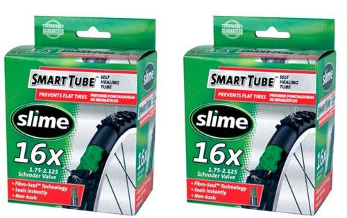 Slime Smart Tube Schrader Valve Bicycle Tube (16 x 1.75-2.125), 2 Pack - All Slime Smart Tubes are factory-filled with a precise volume of SLiME Tube Sealant.Ride without worries. Smart Tubes instantly seek out and seal punctures as they occur, preventing flats, repeatedly and continuously for up to two years