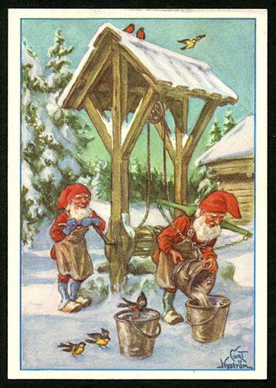 Julkort av Curt Nyström. Från 1960-talet.