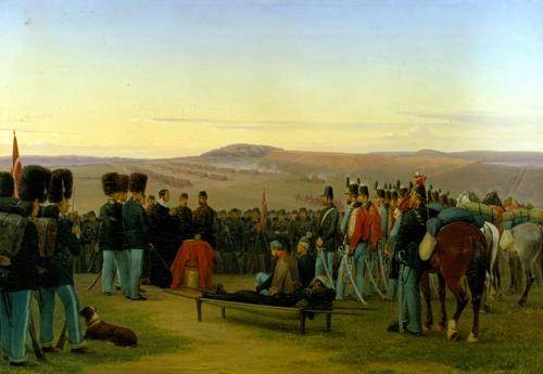 """Feltgudstjeneste ved Dannevirke"", painted by Jørgen Valentin Sonne, 1865. The Museum of National History, room 63."