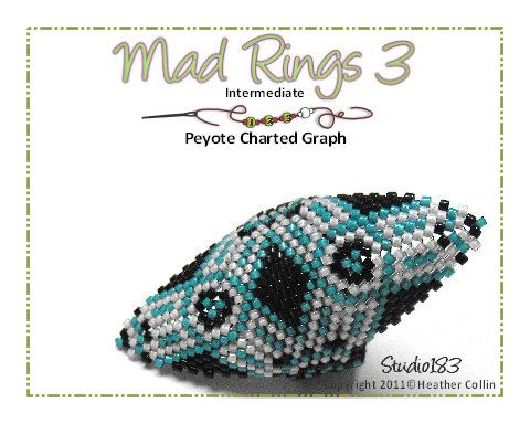 Ethnic Rings Charted Beading Pattern MAD RINGS 3 by Studio183, $7.00