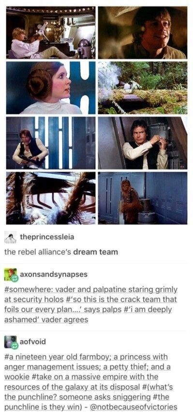 Rebel Alliance dream team. Farm boy (Luke Skywalker), a princess with anger management issues (Leia), a petty thief (Han Solo), and a Wookiee (Chewbacca) take on a massive empire with the resources of the galaxy at their disposal. The punchline is they win.