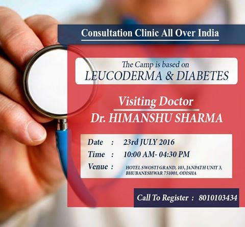 """#AimilHealthcare and Research Centre is organizing #ConsultationClinic for #Leucoderma & #Diabetes on 23rd July in #Bhubneshwar .  """"Be First To #Book Your #Appointment"""" For more information, visit : www.aimilhealthcare.com/camps"""