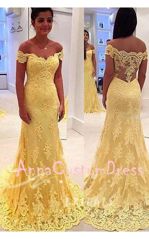4cea22298e2a Off Shoulder Yellow Lace Long Prom Dress 2018 Mermaid