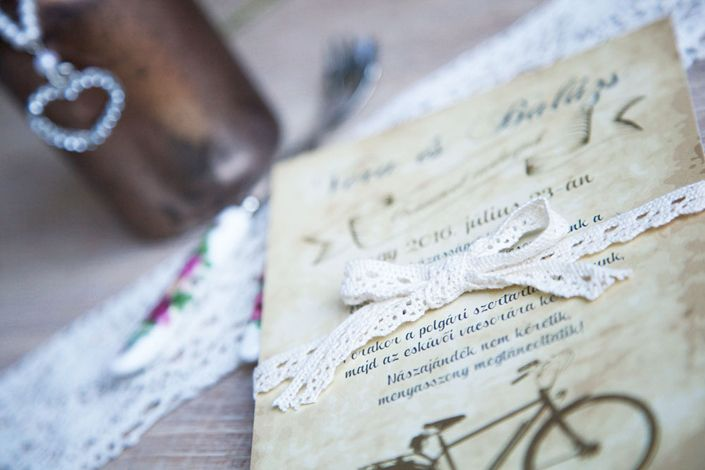 Vintage wedding invitation, vintage bycicle wedding invitation