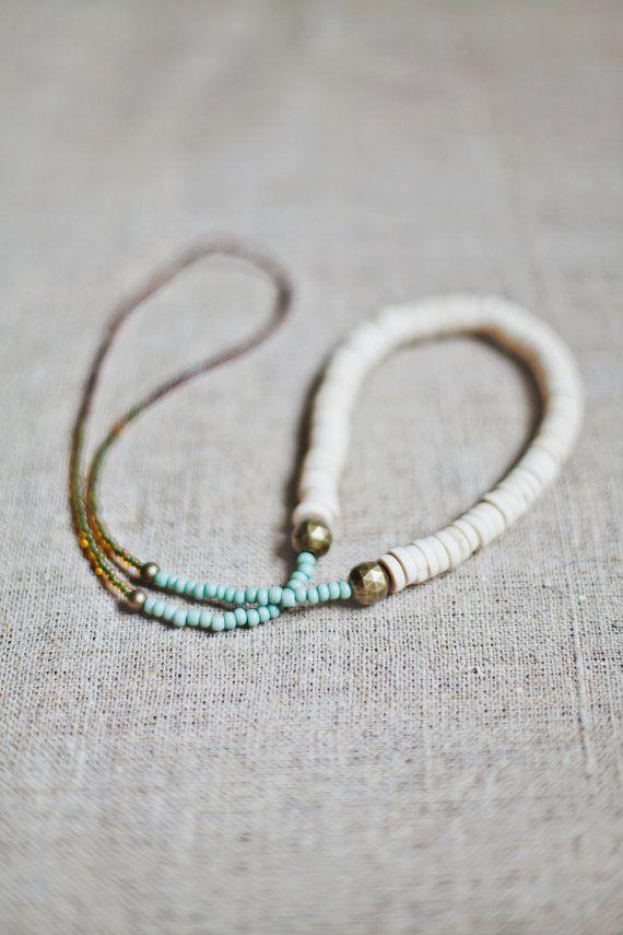 Mixed Media Boho necklace by BlueBirdLab on Etsy