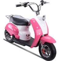 MotoTec 24v Pink Electric Moped Scooter