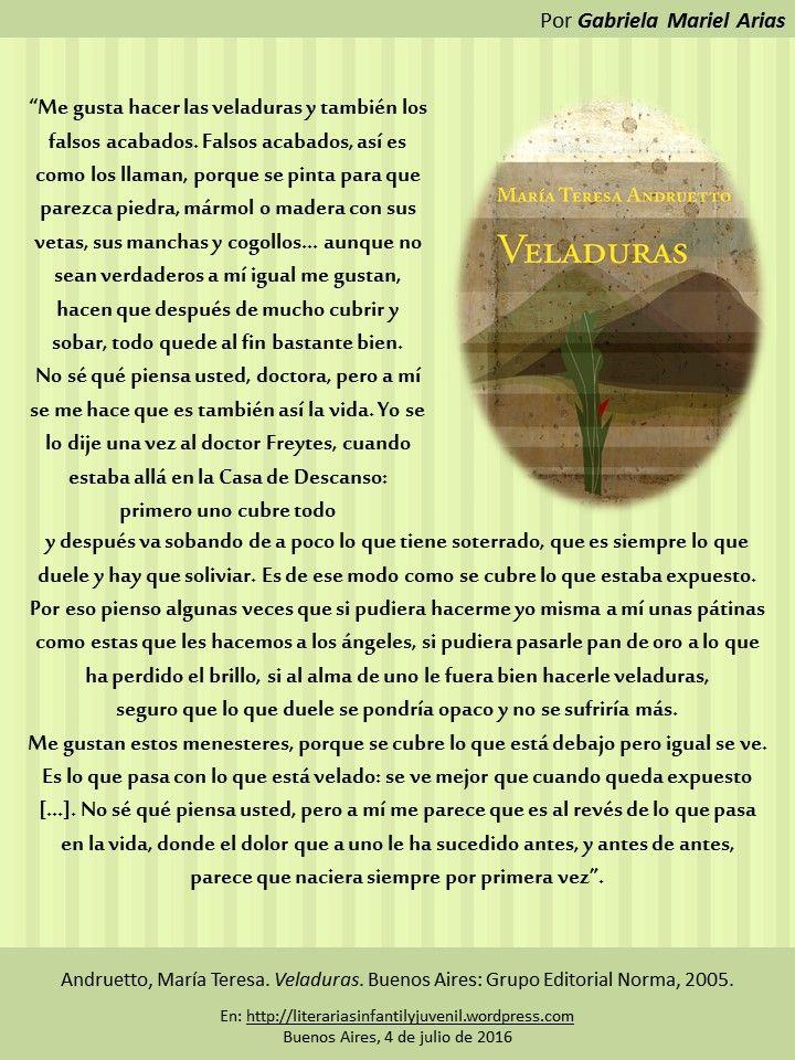 Palabras de novela: VELADURAS de María Teresa Andruetto | LITERARIAS | Por Gabriela Mariel Arias