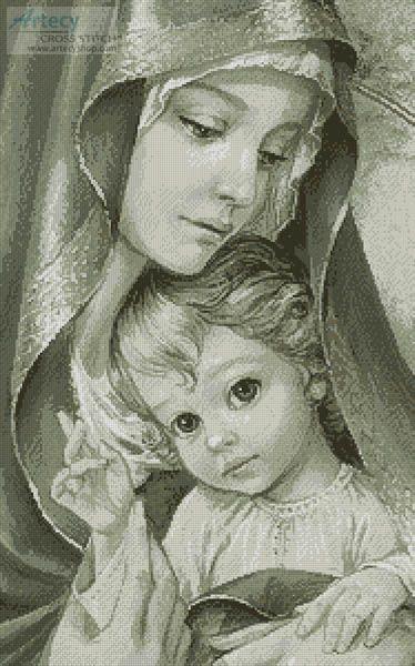 Artecy Cross Stitch. Mother of God Sepia Cross Stitch Pattern to print online.