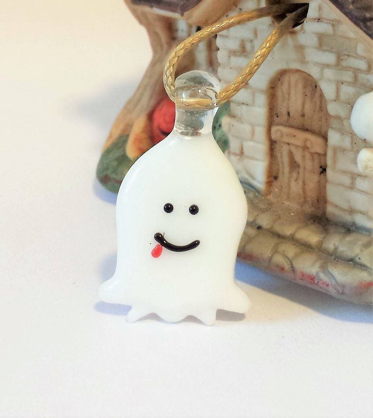 Snapchat White Ghost Halloween Jewelry - Blown Glass Handmade Jewelry - Scary Ghost - All Hallows Night - Halloween Costume - Friendly Ghost