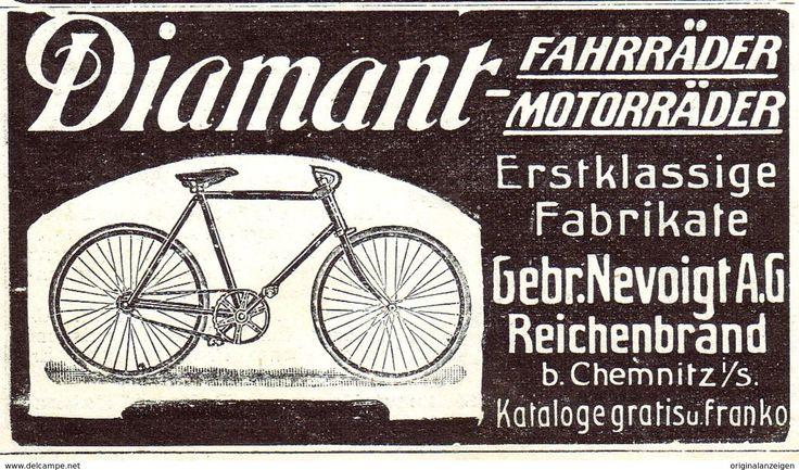 Original-Werbung / Anzeige 1907 - DIAMANT- FAHRRÄDER / MOTORRÄDER / NEVOIGT REICHENBRAND- CHEMNITZ - Ca. 80 X 45 Mm - Werbung