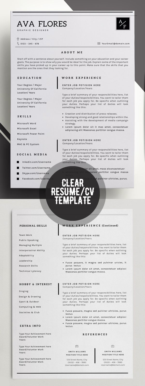 clear professional resume personal profile contact info social media accounts skills expertise experience achievements