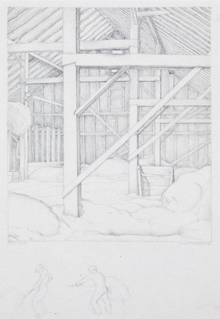 LIONEL LEMOINE FITZGERALD (1890-1956), WSC, G of 7, CGP 'Hay Loft', 1928, Pencil on paper