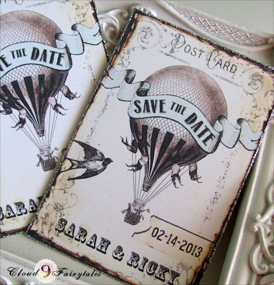 Wedding Save The Date Cards Post Cards Whimsical Vintage Style Birds Save the Date Invitations Custom personalized Hot Air Balloon Set of 50. $68.00, via Etsy.