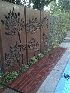 decking, corten steel screen, paving, prahran