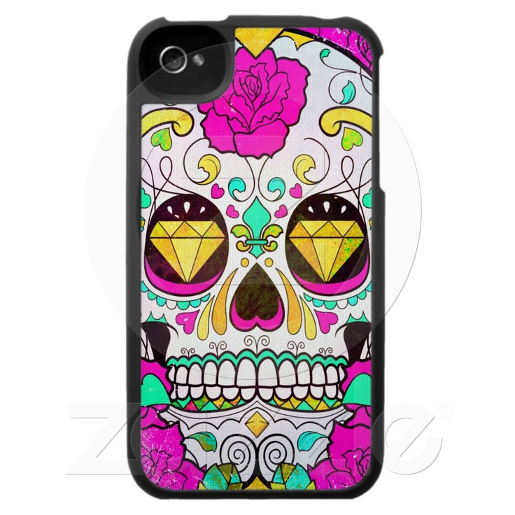 So pretty! Sugar Skull and Pink Roses iPhone 4 Case from Zazzle.com - $39.95