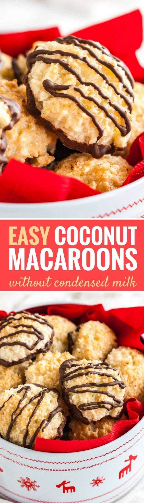 These Coconut Macaroons are chewy and moist on the inside and crispy on the outside! Made with lemon zest and without sweetened condensed milk, these sweet and easy coconut cookies are going to be everyone's favorite treat this holiday season. #christmascookies #cookies #coconutmacaroons #easyrecipes