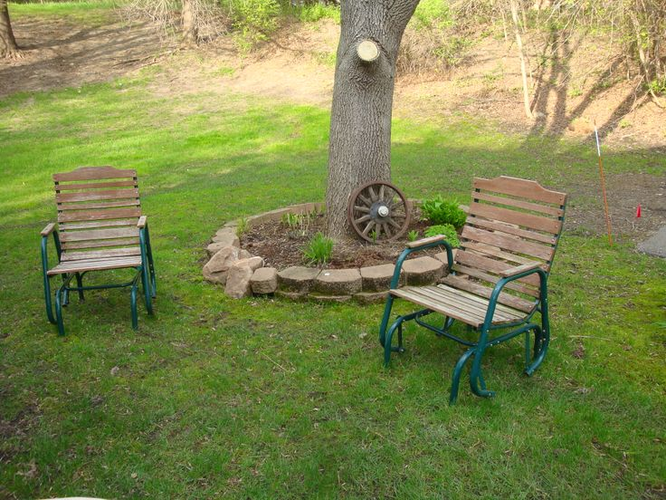 Garage Sale finds. Two rustic gliders. These are what we used to relax in up at the cabin!