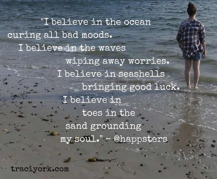 """I believe in the ocean"" quote by happsters, photo taken at Niles Beach, Gloucester MA by Traci York, Writer."
