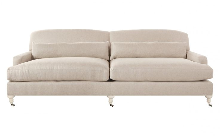 """•Dries sofa (jayson home) upholstered in whitman-flax herringbone  •fabric content: 70% viscose, 30% linen  •raw maple wood finish  •antique brass casters  •sustainable construction    Dimensions  •overall: 98""""W x 40""""D x 33""""H  •seat width: 87""""W   •seat depth: 26""""D  •seat height: 19""""H  •arm height: 23""""H"""