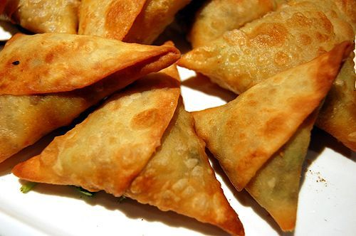 Ethiopian Food: Samosas. This stuff is amazing!  (ground beef)
