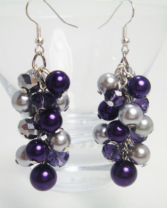 Pearl Cluster Earrings  Purple and silver  pearls with by Eienblue, $8.00