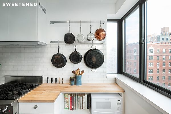 Creative use of space in kitchen  http://blog.sweeten.com/inspiration/five-design-tricks-transform-uptown-kitchen/#more-12592