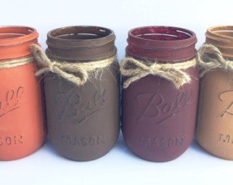Set of 3 Hand Painted Mason Jars Fall Mason Jars Home by OMGMASONS