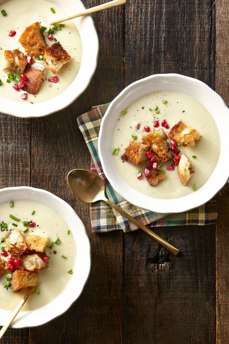 Cauliflower Bisque with Brown Butter Croutons