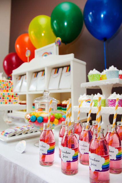 Beautiful rainbow dessert table