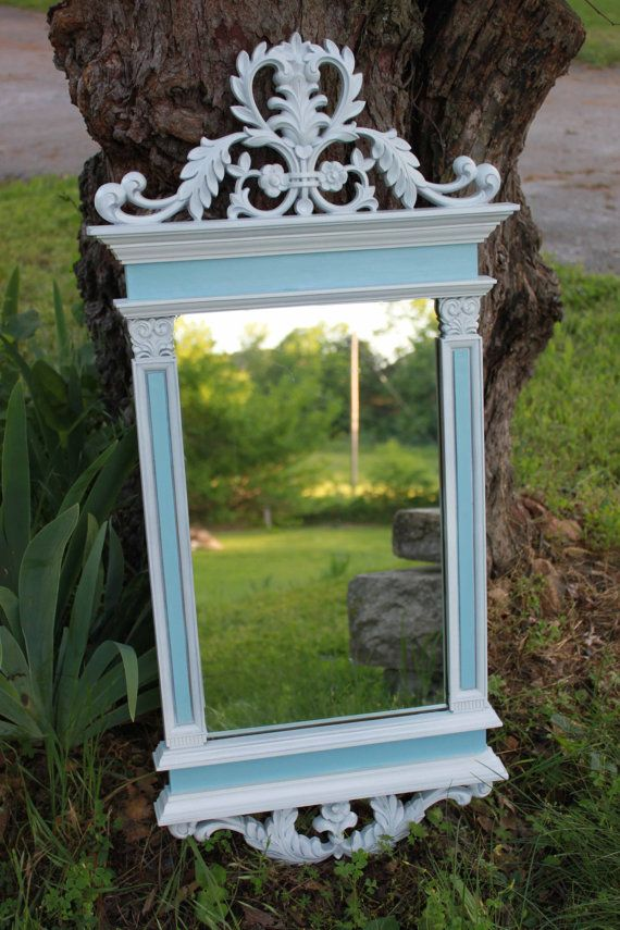 Classical ornate white and blue mirror // Shabby chic // Hollywood Regency // French Country Chic Home Decor