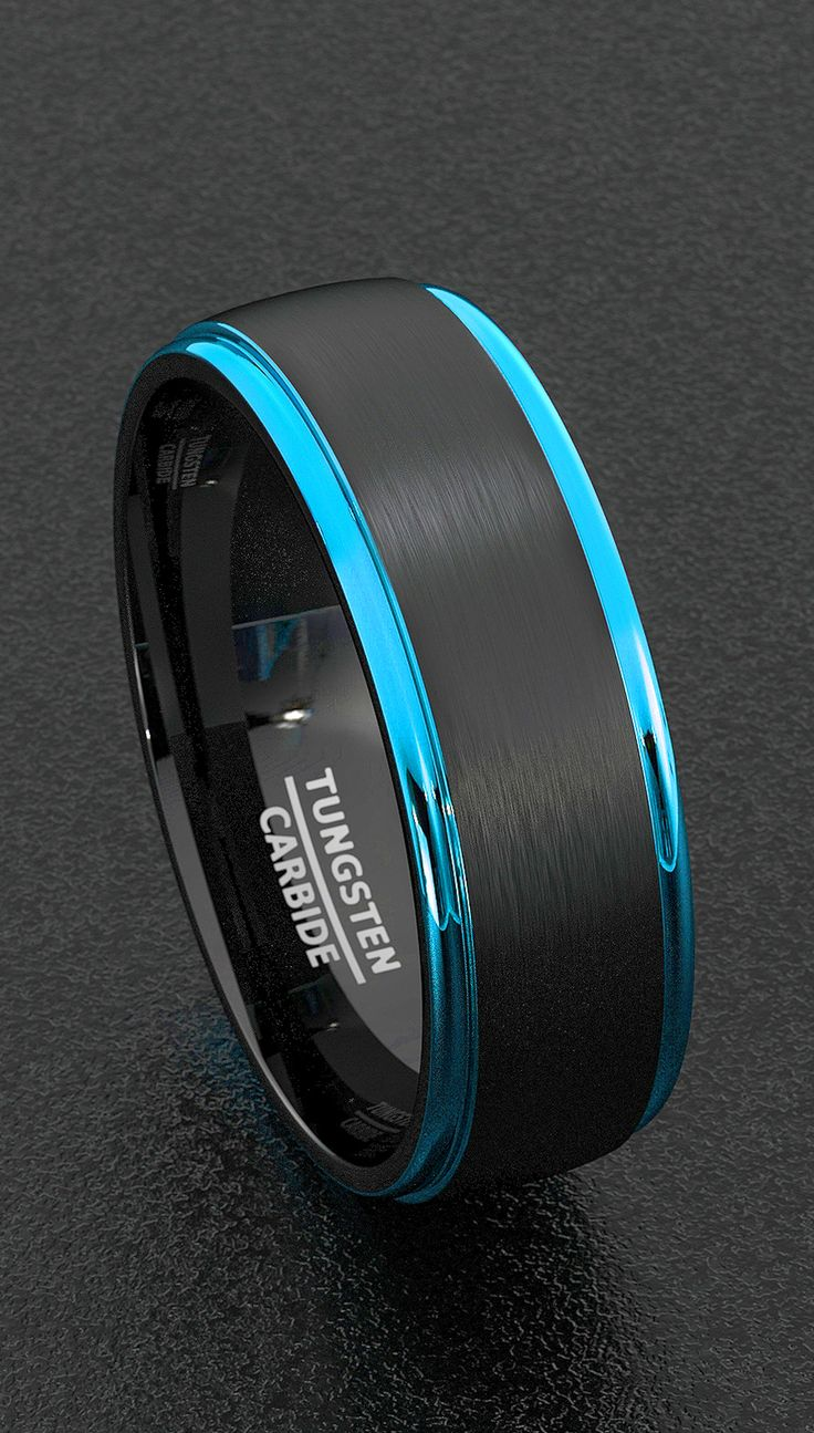 Tungsten Ring Mens Wedding Band Width 8mm Black Brushed Surface Blue Polished Beveled Edges Comfort Fit Tungsten Carbide