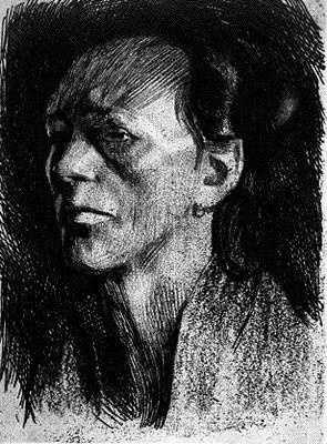 Kathe Kollwitz, Workman's Wife. etching