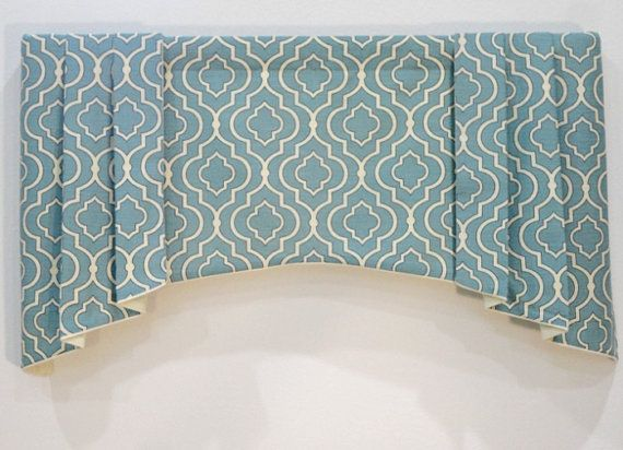 Pleated Window Valance / Aqua Blue White / Geometric / Linen Cotton / READY TO…