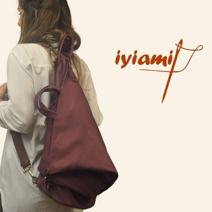Handmade convertible backpack in plum Italian leather ,named Moira by iyiamihandbags on Etsy