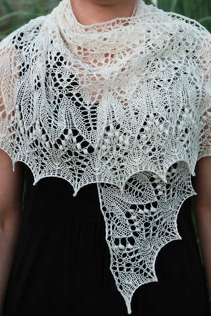 Beautiful - would go great with Red Hat outfits if knitted in purple or red  Ravelry: Fragaria Lace Shawl pattern by Alina Appasov
