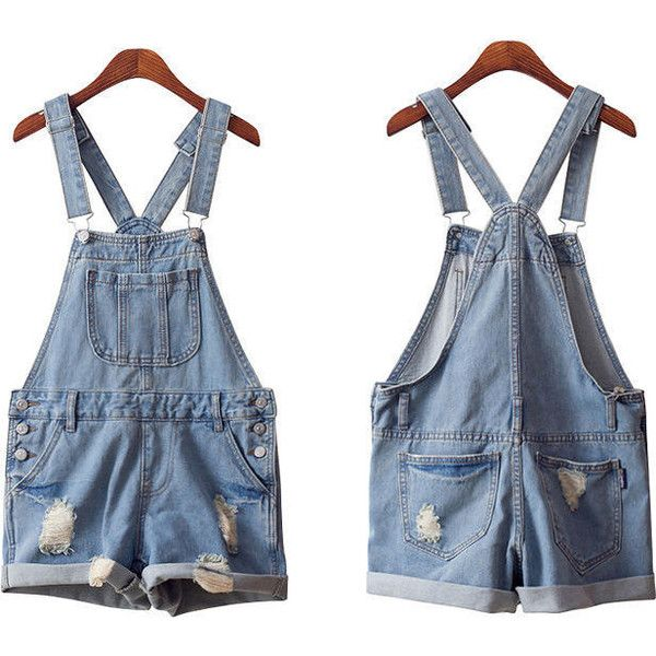 Distressed Denim Jumper Shorts ($28) ❤ liked on Polyvore featuring shorts, yesstyle, distressed denim shorts and light blue shorts