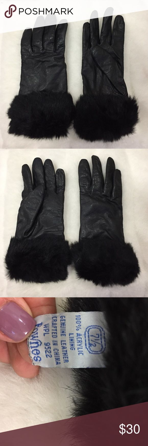 Black gloves fur trim - Leather Gloves With Fur Trim Black Leather Real With Faux Fur Trim Neiman Marcus
