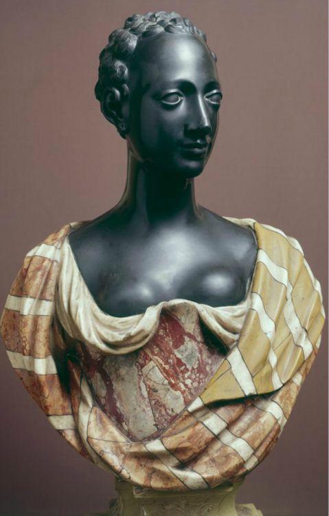 "Anonymous Italian Artist :: ""Black Woman with Drape  "" Italian Polychrome Marble, 80cm,  (c. 1640s) Milano, Museo Poldi Pezzoli."