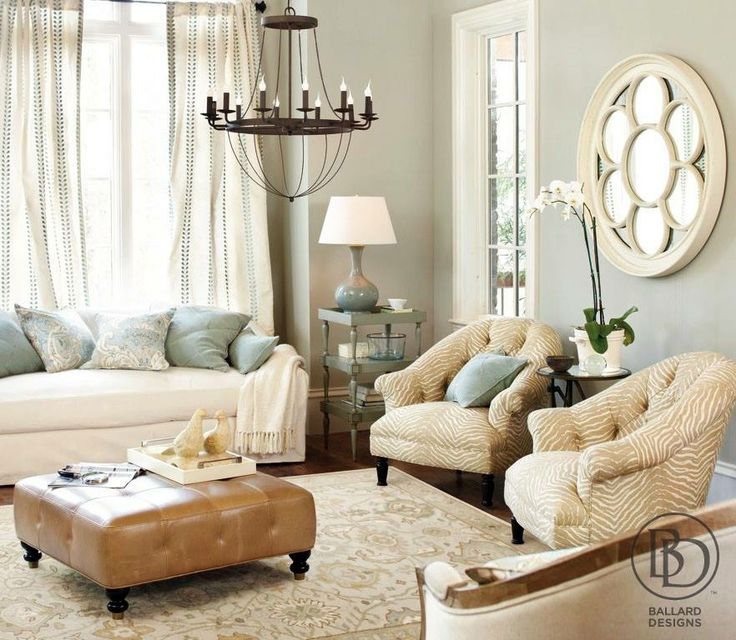 Neutral living room with blue accents for the home for Living room designs neutral colors